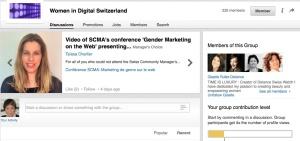 Women in Digital Switzerlandグループポータル。リンクトインの中にある。左上の写真は創始者、シャルリエさん。